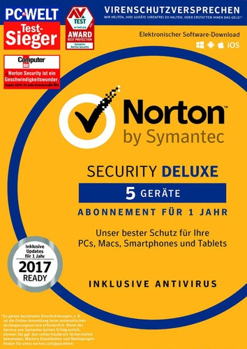 Platz 2 im Antivirenprogramm Vergleich Symantec Norton Security 3.0 Deluxe