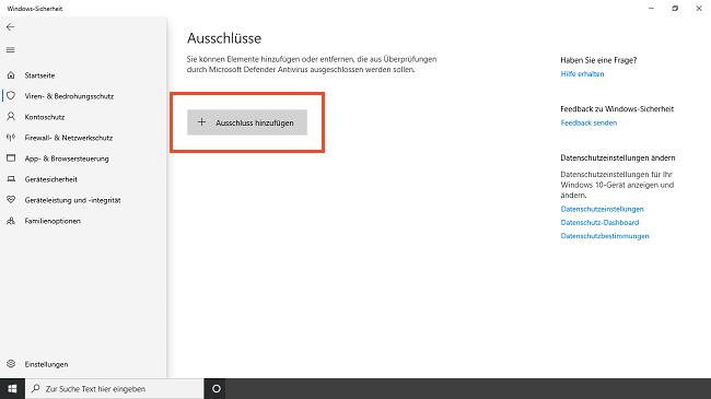 Ausschluss von mysoftware hinzufügen