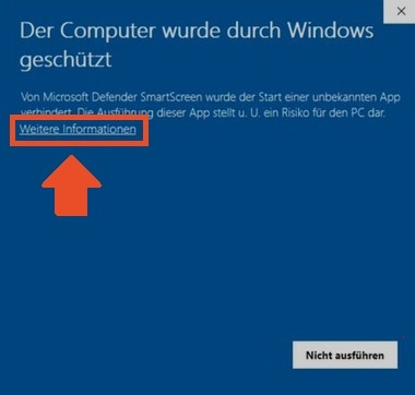 Der Computer wurde durch Windows geschützt auf weitere Informationen klicken