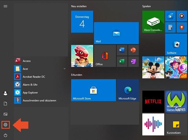 Einstellungen unter Windows 10 öffnen
